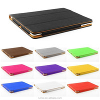Tan Leather Wallet Smart Stand With Sleep Wake Function Case Cover For Apple iPad 2 / 3 /4