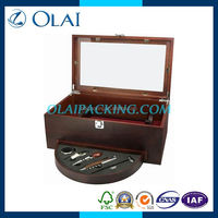 hotsale unique design double wooden wine box with accessories