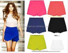 OEM Hot Korean Fashion Tiered Asymmetric Wrap Shorts Skorts Skirts Mini Short Pants