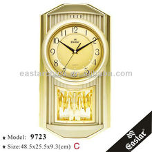 Arabic decoration wall clock music golden decorative