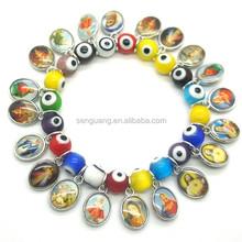 oval coloured glaze evil eye beads and round luminous beads stretch bracelet with rhinestones,elastic beaded bracelet,jewelry