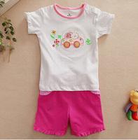 Girls fashion clothing children short sleeve T-shirt suit wholesale