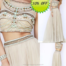 Hot Sale Elegant Good Quality Chiffon Beaded Top Two Piece Prom Dress