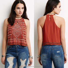 Top Selling Products Keyhole Back Boxy Beaded Geo-Embroidered Ladies Halter Top