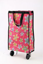 600d polyester folding handled shopping wheel bag