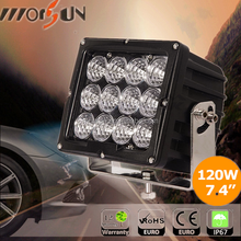 "7.4"" 120w IP67 LED tractor working lights,offroad 4x4 120w square auto led work light for offroad, jeep, truck, automobile spare"