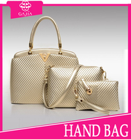2015 top selling fashion golden V type texture 3pc set bag lady purse and handbag luxury designer women handbag from China