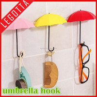 Creative design new hot colorful hanger plastic umbrella wall hook without nail