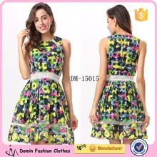 2015 Hot Fashion Floral Printed Lady Skater Women Dress