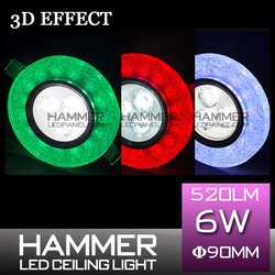 Source and CE,RoHS Certification 3d effect crystal multi color chaning slim hammer brand name dimmer led panel indoor lighting
