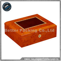 Red Color High Level Luxury Wooden Wrist Watch Storage Display Box Cushion Inside with 10 Grids With Lock PW055