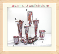 New Products Glass Mosaic Vases Set, High Quality New Glass Mosaic Candle holder Set