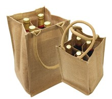 Eco-Friendly 4 Bottle Wine Jute Bag - made from natural organic jute, features cotton webbed handles and comes with your logo.