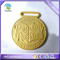custom metal die cast Frosted matt fake gold medal reading award