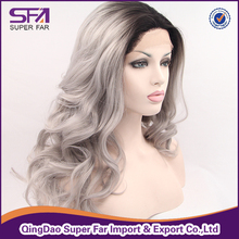 Silver grey ombre color synthetic hair lace front wig, cheap front lace wig