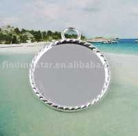 Silver plated Cabochon Setting Pendant Tray glue on bail picture frame Round Charms A13745SP