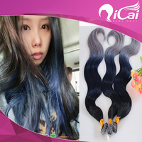 brazilian virgin remy human tape hair extension body wave ombre 3 tone 1b blue grey heart mini micro tape hair extensions