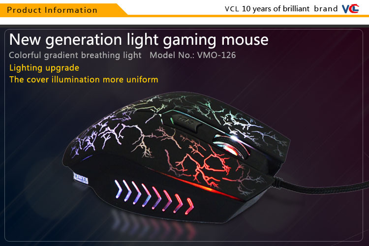 Cheap wired led optical mouse with laser logo