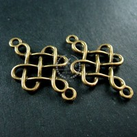 17x30mm vintage style antiqued bronze twisted filigree DIY pendant charm connector supplies 1810360