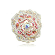 Full diamond crystal jewelry high quality enamel flower brooches wholesale