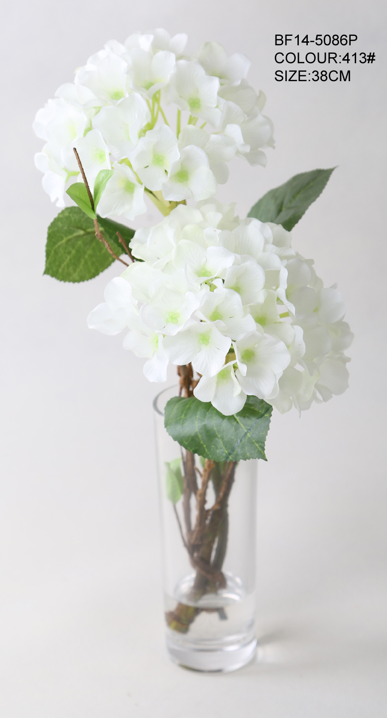Hot Sale Artificial Flowers Silk White Hydrangea Flowers With Glass