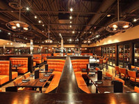 orange pu or leather fast food restaurant booth seating design for coffee