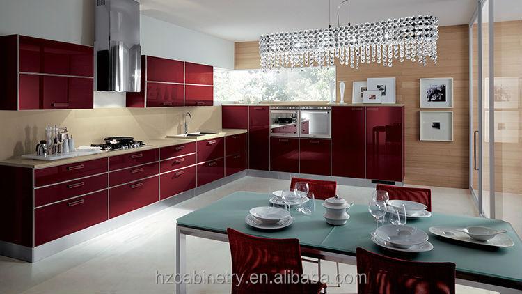 Vajilla de porcelana moderna de alto brillo rojo mueble cocina ...