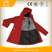 Outdoor PU polyester rain jacket for women