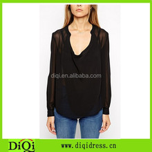 Semi-sheer extreme sexy drape neckline relaxed fit black female blouse with curved hem