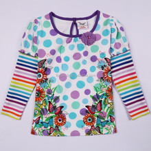 2-6T (G621#LAVENDER)Hot sell wholesale factory price ready made kids clothing girl printed tops