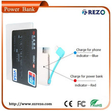 polymer battery 2000mAh Ultra thin Power Bank with 4 adapters for smartphone Christmas Gift