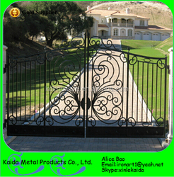 Factory Price Decorative Wrought Iron Front main gate designs for Homes