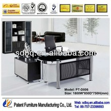 PT-D006 Popular modern high glossy commercial office furniture desk hot new products for 2015 with tempered glass side table