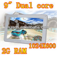 Dual Core 9 inch 2g tablet pc china manufacturer with DDR 2GB HD16GB 1024X600 HDMI