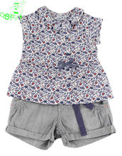 baby clothes girls cotton sleeveless blouse and shorts designer child clothing manufacturers in china