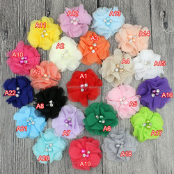 baby girl hair accessories diy handmade satin fabric Crystal chiffon ballerina flowers