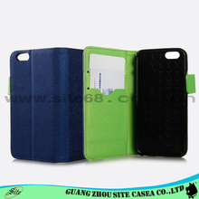 Tipo Flip caso de couro do telefone móvel para o iphone 6 G com slots de cartão