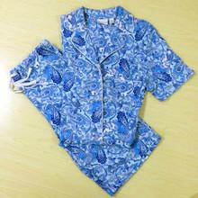 100% cotton flannel sleepwear pajamas sets for lady summer women pyjamas short sleeves