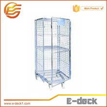 Hot Sellng 4 sides warehouse logistic roll container nestable wire mesh cargo storage roll container