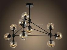 10 light modern glass ball vintage black modo chandeliers, modo pendant lamp light