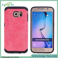 Cheap Price Crocodile Skin Texture Leather Coated Armor Style for Samsung Galaxy S6 Case Cover