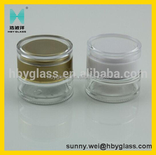 30G /50G clear round cream packing glass bottle with the cap