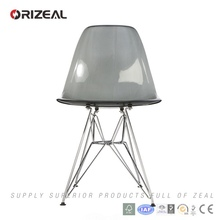 Replica crystal plastic chair with chrome leg for dining room furniture (OZ-1152RPC)