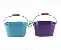 Oval Galvanized metal container buckets with wooden handle