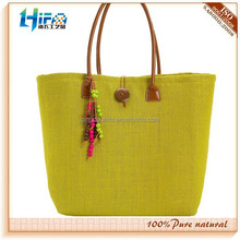 2015 newest lemon yellow color tassels jute basket tote bag also used for shopping bag