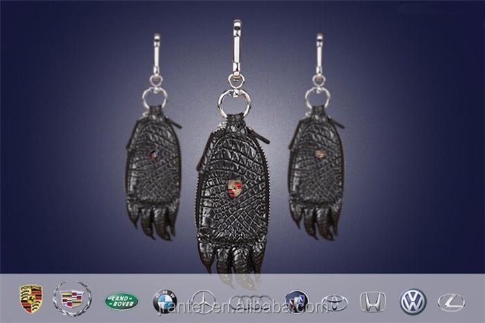 2016 Hot Sale Custom brand logo crocodile leather key case for car _3
