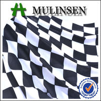 Mulinsen Main Products FDY Knit Polyester Printed Black and White Checkered Fabric