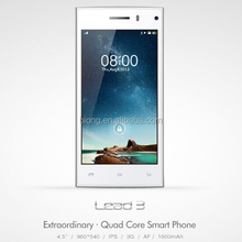 MTK6582 1.3GHz Quad Core 4.5 Inch 960*540 IPS Screen Android 4.4.2 3G Smartphone made in china LEAGOO LEAD 3