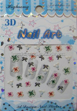Nail Art 3D Stickers Decals Foil with Flower Pattern Fresh 5.2x6.3cm