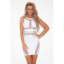 Elastic hot style hollow out white color dress naughty girl sexy party dress